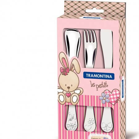 Tramontina 3 Piece Stainless Steel Knife, Fork & Spoon Child's Set (PINK)