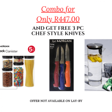 5pc Round Flip-lock Canister Set & Borosilicate Glass Pitcher +Free Chef Style Knives