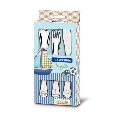 Tramontina 3 Piece Stainless Steel Knife, Fork & Spoon Child's Set (BLUE)